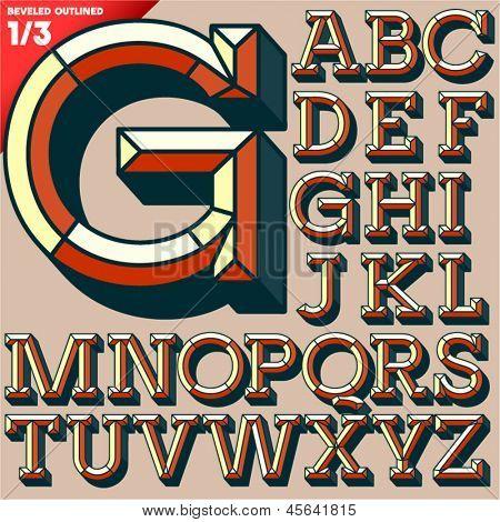 Vector illustration of old school beveled alphabet. Outlined version. Upper case