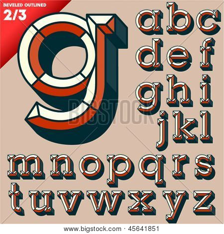 Vector illustration of old school beveled alphabet. Outlined version. Small case