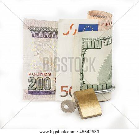 Locked Finances Concept Currency