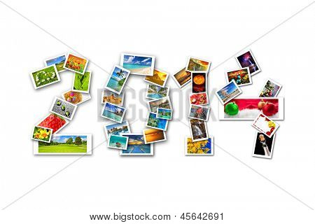 New Year with four seasons in photography. Sign made by collage of my photos