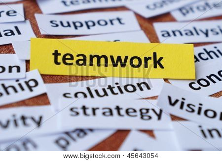 Word collage of teamwork and other elated words