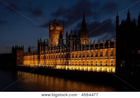 Buildings Of Parliament London Uk Evening View