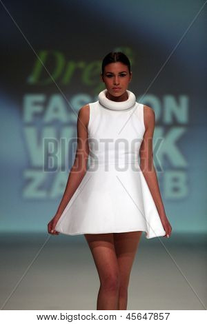 ZAGREB, CROATIA - May 11: Fashion model wears clothes made by Henrietta Ludgate on