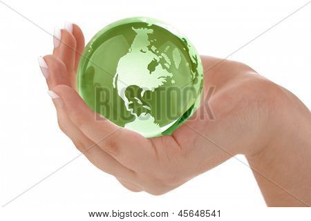 Globe in womans hand concept for protecting the earth and environmental conservation