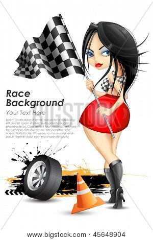 illustration of woman waving checkered sports flag