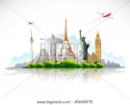 illustration of travel around the world famous monument with airplane