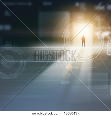 Businessman silhouette standing against media picture background