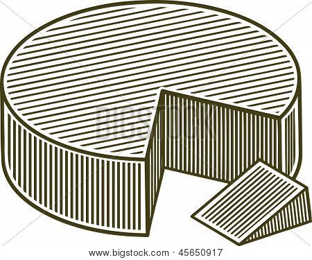 Woodcut Block Of Cheese