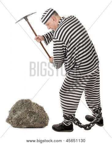Convict prisoner jailbird pestle rock with pickax
