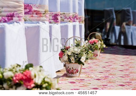 Flowers Composition On Wedding Ceremony
