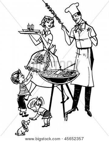 Family Barbecue - Retro Clip Art Illustration