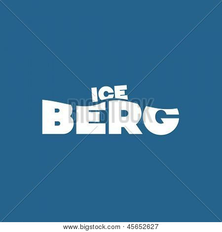 ICE in small over BERG in larger letters signifying the visible tip of the iceberg and large portion hidden below the surface of the ocean posing an unseen danger or problem - Tip Of The Iceberg