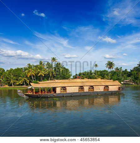 Houseboat on Kerala backwaters. Kerala, India