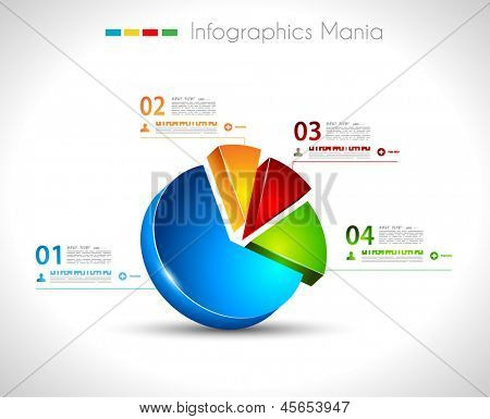 Infographic design template with3D pie. Ideal to display information, ranking and statistics with orginal and modern style.