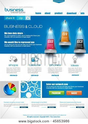 Website template for corporate business and cloud purposes. Ideal for company blogs with high class presence.