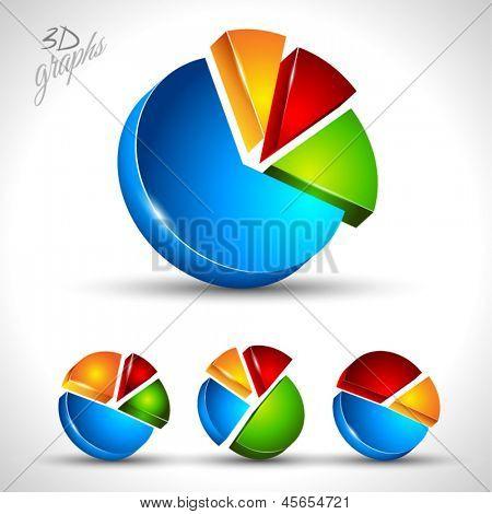 diagrama de torta 3D para exibição de dados infográfico ou porcentagem. 4 gráfico diferente, com colo de alto contraste