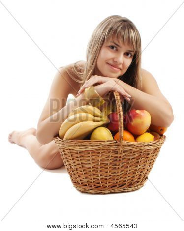 Girl Behind Fruit Basket