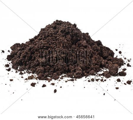 Pile heap of soil humus isolated on white background