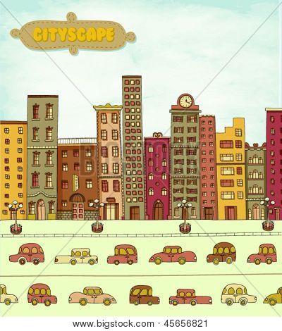 Dibujos animados de paisaje urbano, con rascacielos, Torre del reloj y coches en la calle