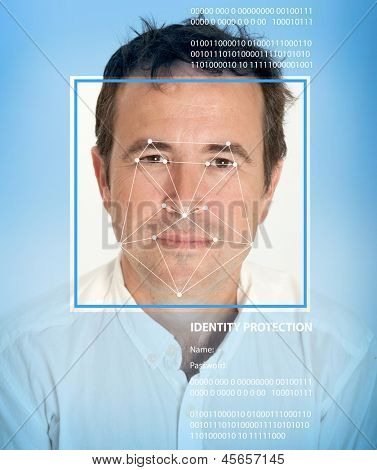 Man face with lines from a facial recognition software