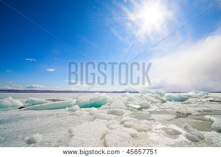frozen baikal lake in winter