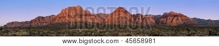 Panorama of Red Rock Canyon, Nevada, USA, at sunrise with yucca and Joshua trees in the foreground
