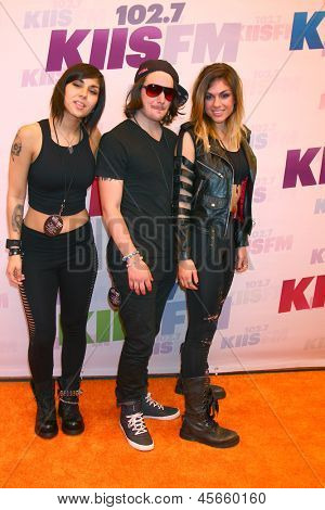 LOS ANGELES - MAY 11:  Yasmine Yousaf, Rain Man, Jahan Yousaf of Krewella attend the 2013 Wango Tango concert produced by KIIS-FM at the Home Depot Center on May 11, 2013 in Carson, CA