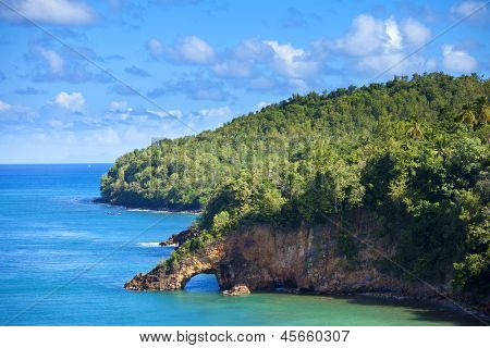 land bridge on the caribbean, st lucia