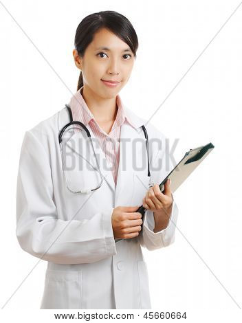 young female doctor with patient file chart