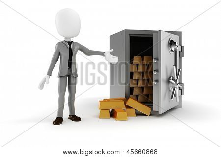 3d man businessman and steal vault on white backgorund