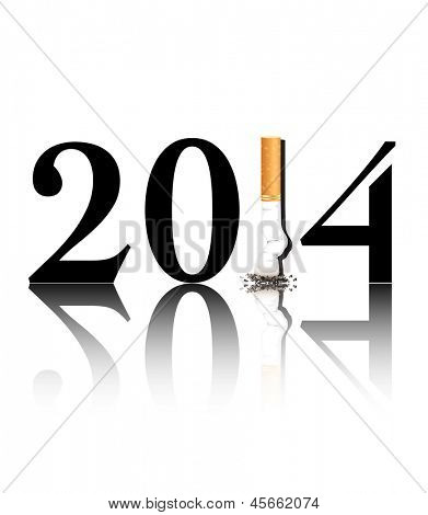 New Year's resolution Quit Smoking concept with the i in 2014 being replaced by a stubbed out cigarette. Also available in vector format.