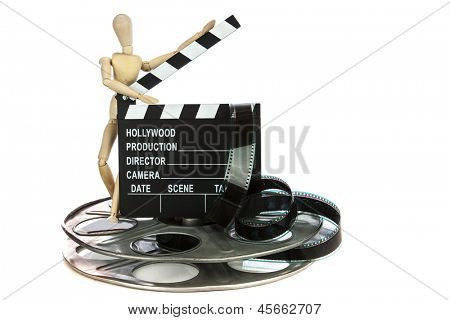 Wooden guy with Movie Clapper Board with film reel on white background
