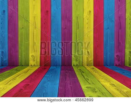Concept or conceptual abstract multicolored or colorful old vintage grungy wood wall floor texture background as metaphor to retro,pattern,color,fun,paint,creative,art,dirty,decor,rough plank design
