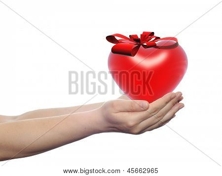 Concept or conceptual 3D red glass heart sign or symbol with a ribbon held in hands by a woman or child isolated over a white background as a metaphor for love,holiday,gift,care,valentine or romantic