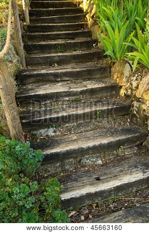 Old wooden stairs outdoors