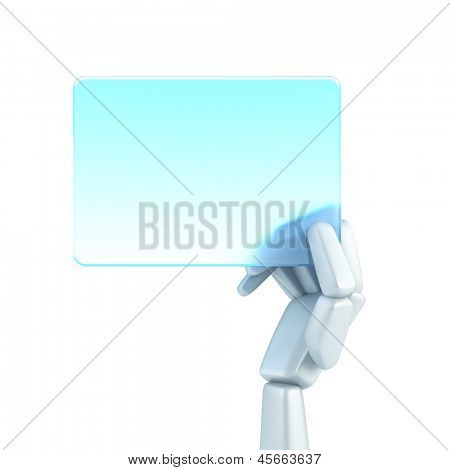 symbolic robot's hand hold blank business card, isolated 3d rendering