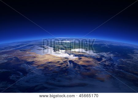 Earth Close-up 3d render Series: Mediterranean Countries (Elements of this image furnished by NASA )