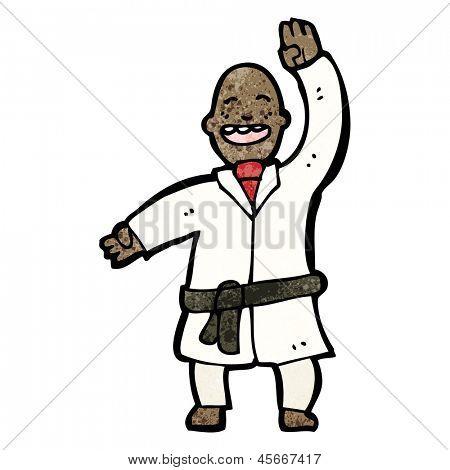 cartoon man judo chopping