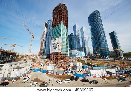 MOSCOW - MAY 2: Construction site of Moscow International Business Center , May 2, 2012, Moscow, Russia. Moscow IBC also referred to as Moscva-City, it located in Presnensky District of western Moscow