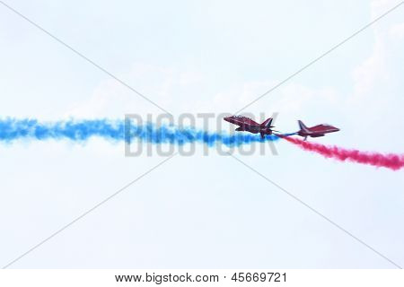 ZHUKOVSKY - AUGUST 12: Two british pilots at airshow devoted to 100 anniversary of Russian Air Forces on August 12, 2012 in Zhukovsky, Moscow region, Russia.