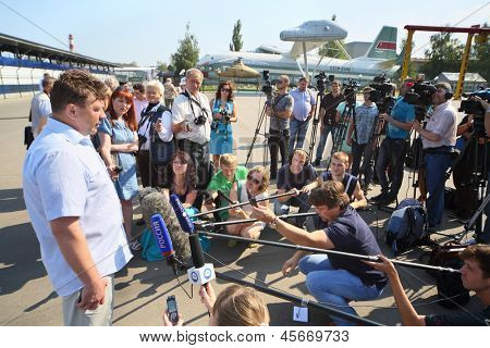 MOSCOW - AUGUST 2: Sergei Maslov on holiday devoted to 50th anniversary to Mi-8 near Helicopter Plant named Mil, on August 2, 2012 in Moscow, Russia. Maslov - Hero of Russian Federation, test pilot.