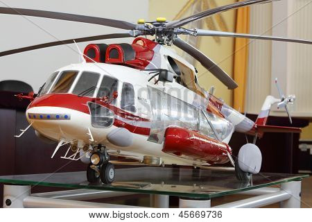 MOSCOW - AUGUST 2: Model of large cargo helicopter Mi-171A2 in museum of Helicopter Plant named Mil, on August 2, 2012 in Moscow, Russia. Plant was founded general designer Mikhail Mil in 1947.