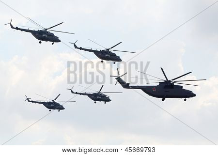 ZHUKOVSKY - AUGUST 12: Russian aerobatic team Berkuts on Mi-28 at airshow devoted to 100 anniversary of Russian Air Forces on August 12, 2012 in Zhukovsky, Moscow region, Russia.