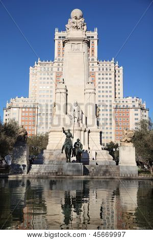MADRID - MARCH 9: Monument to Don Quixote and Sancho Panza, on March 9 2012 in Madrid, Spain. Since 2012 Spain has 52 million visitors, 3% increase over last year.