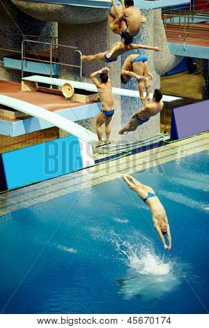 MOSCOW - APR 13: (Serial shots) Sportsman jumps from diving-tower in Pool of SC Olympic on day of third phase of World Series of FINA Diving, April 13, 2012, Moscow, Russia.