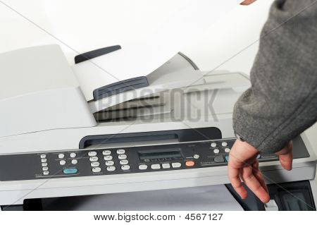 Woman Is Making A Copy