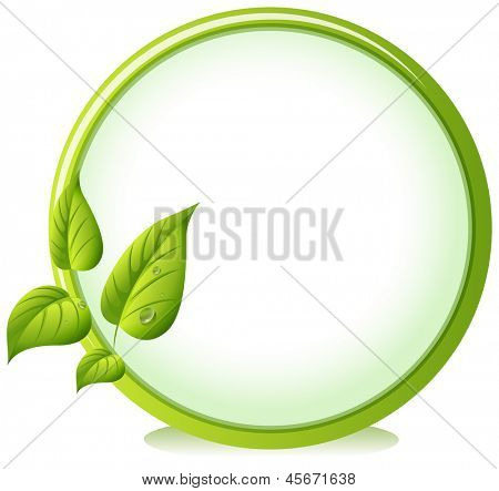 Illustration of a round border with four green leaves on a white background