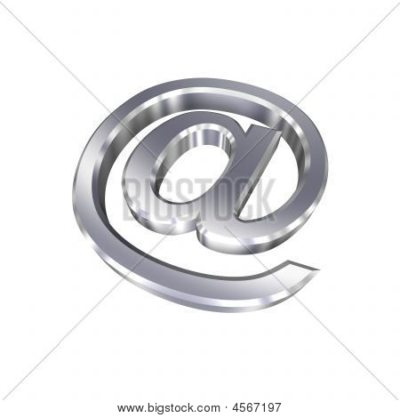 Chrome E-mail Sign Isolated On White