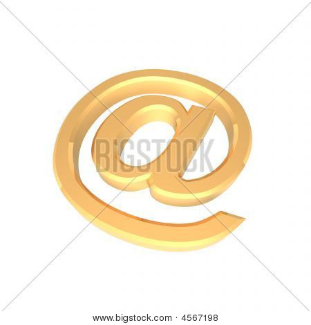 Gold E-mail Sign Isolated On White