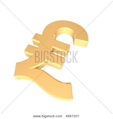 Gold Pound Sign Isolated On White